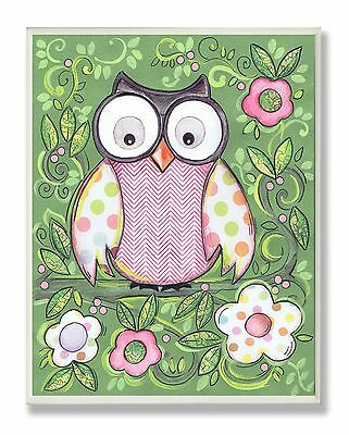 The Kids Room by Stupell Polka Dot Owl with Green Floral Background Recta... New