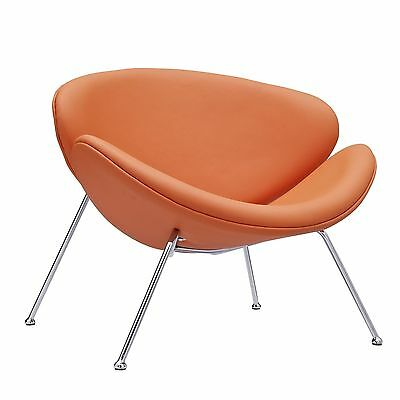 LexMod Nutshell Mid-Century Style Lounge Chair in Orange Vinyl New