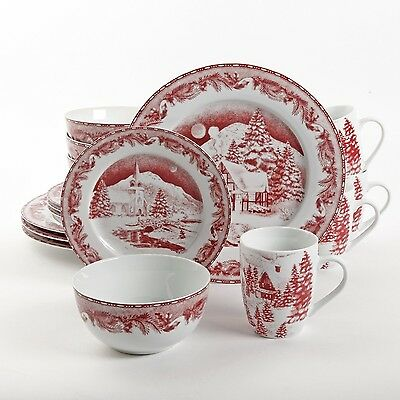 Gibson Elite Winter Cottage 16-Piece Dinnerware Set Red New