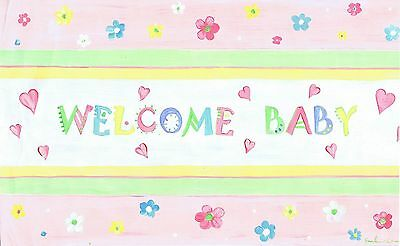 The Kids Room by Stupell Welcome Baby with Pink Floral Border Rectangle W... New