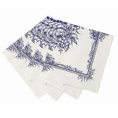 Talking Tables Party Porcelain Napkins (20 Pack) 33cm Blue & White New
