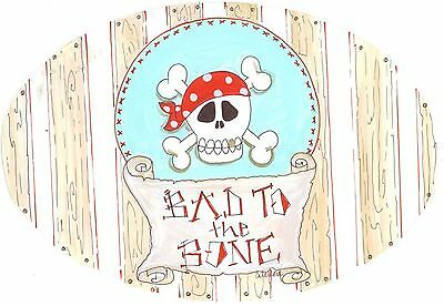 The Kids Room by Stupell Bad to the Bone with Skull Oval Wall Plaque New