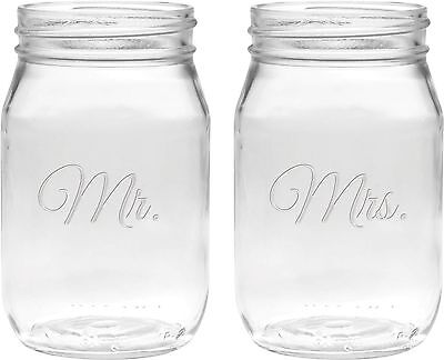 Culver 2-Piece Etched Mr. and Mrs. Jar Glasses Set 16-Ounce Clear New