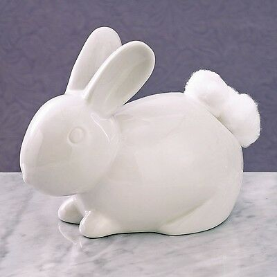 Bits and Pieces - Ceramic Bathroom Bunny Cotton Ball Holder - Cotton Tail... New
