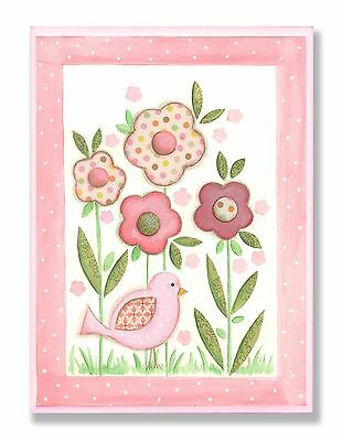 The Kids Room by Stupell Pink Patchwork Bird with Daisies Rectangle Wall ... New