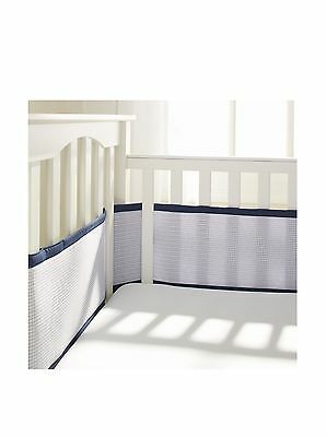 BreathableBaby Deluxe Breathable Mesh Crib Liner Navy New