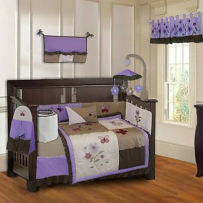 Purple Blossom 10 Piece Baby Girls Crib Bedding Set (Including Musical Mo... New