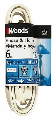 Woods 0600W 6-Foot Cube Extension Cord with Power Tap White New