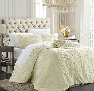 Chic Home Isabella 4-Piece Duvet Cover Set King Beige New