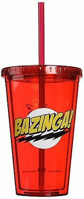 ICUP Big Bang Theory Bazinga Cup with Straw Clear red 1 New