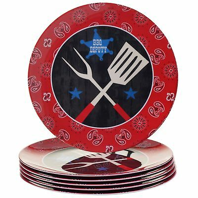 Certified International Corp BBQ Bandit Melamine Dinner Plate (Set of 6) ... New
