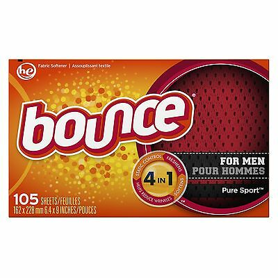 Bounce Fabric Softener Dryer Sheets Pure Sport 105CT (Packaging may vary) New