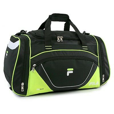 Fila Acer Large Travel Gym Sport Duffel Bag Black/Neon Green One Size New