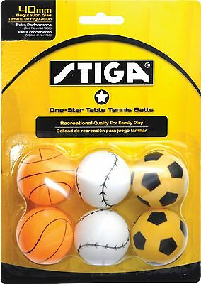 Stiga T1403 1-Star Sport Table Tennis Balls 6-Pack 40 MM (One 6 Pack) New