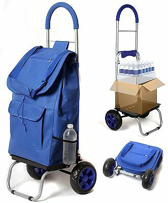 Trolley Dolly Blue Shopping Grocery Foldable Cart New