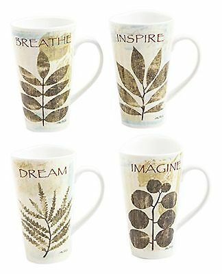 Gibson Elite Nature Pressed Mugs Breath and Inspire 16-Ounce Multicolor New