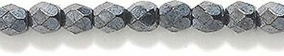 Preciosa Czech 3mm Fire-Polished Glass Bead Faceted Round Gunmetal 300/pack New