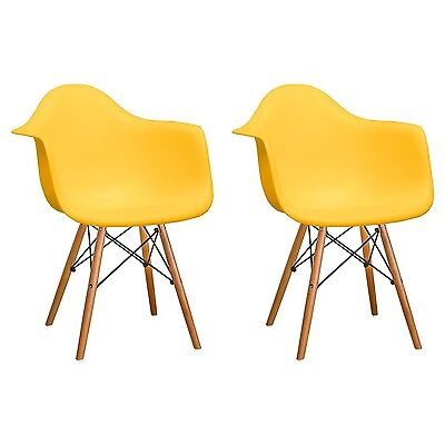 Mod Made Paris Tower Arm Chair Wood Leg Yellow Set of 2 New
