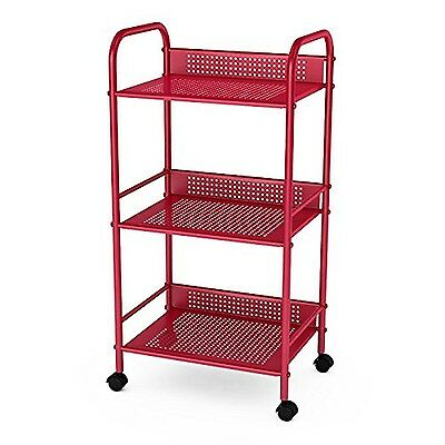 Dar 3-Tier Shelving Cart with Casters Red New