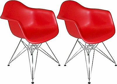 Mod Made Paris Tower Arm Chair Chrome Leg Red Set of 2 New