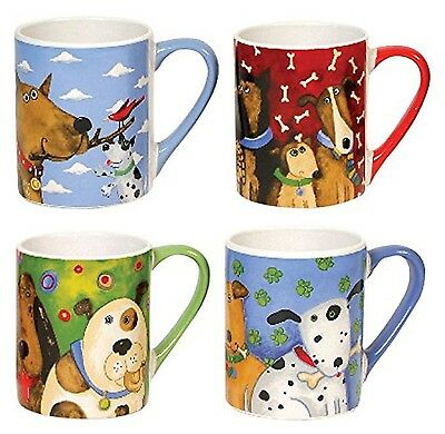 Gibson Elite Top Dogs Mugs (4 Pack) 11-Ounce Multicolor New