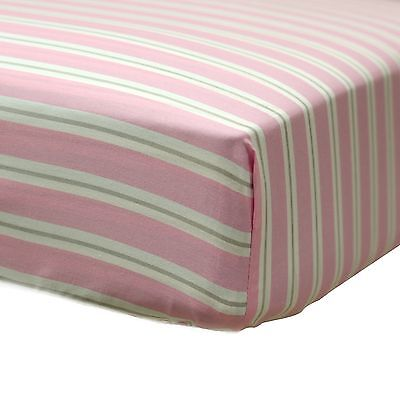 Baby's First by Nemcor Fitted Crib Sheet Pink White Grey New