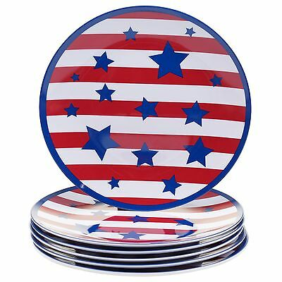 Certified International Corp Stars and Stripes Melamine Salad Plate (Set ... New