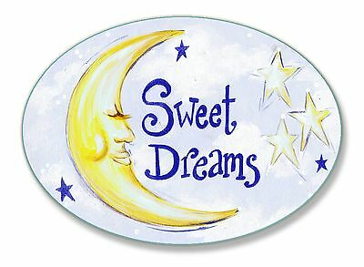 The Kids Room by Stupell Sweet Dreams Moon and Stars Oval Wall Plaque New