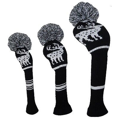 Deer Pattern Knitted Creative Golf Pom Pom Head Covers Set of 3 for Wood ... New