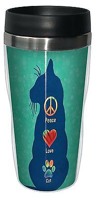 Tree-Free Greetings 78182 Angi and Silas Peace Love Cat Sip 'N Go Stainle... New