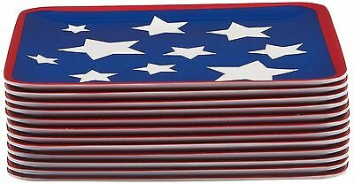 Certified International Corp Stars and Stripes Melamine Canape Plates (Se... New