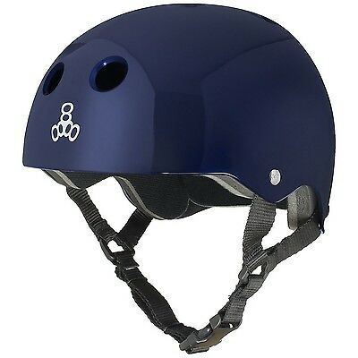 Triple Eight 1029 Brainsaver Glossy Helmet with Standard Liner Blue Metal... New