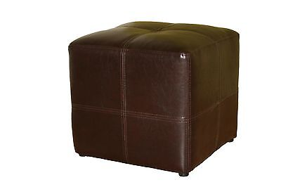 Baxton Studio Nox Leather Ottoman Small Dark Brown New