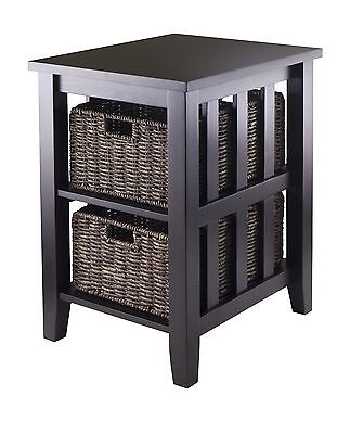 Winsome Wood Morris Side Table with 2-Foldable Basket Espresso New