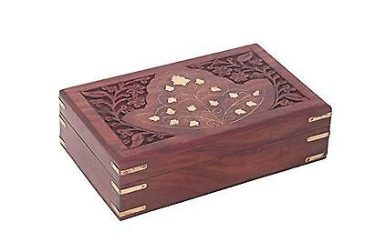Wooden JEwelry Box Inlay & Carving Work 6in New