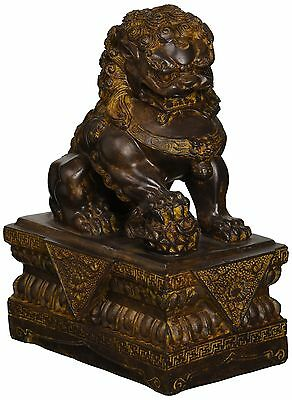 Design Toscano NY13668012 Chinese Guardian Male Lion Foo Dog Statue New