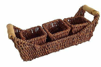 Seagrass Woven Shelf 3 Basket Tray with Wood Handle Natural New