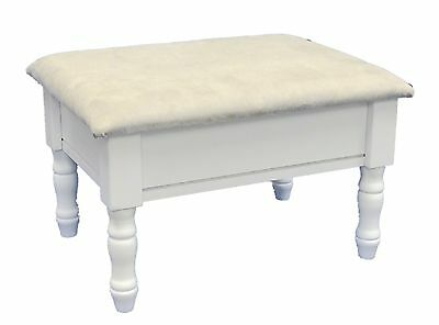 Frenchi Home Furnishing Footstool with Storage White Finish with Dark Bei... New