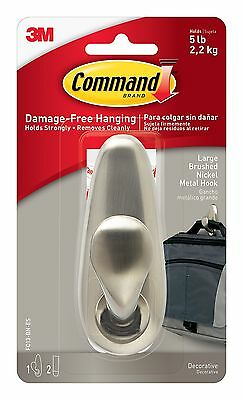 Command Forever Classic Large Metal Hook Brushed Nickel 1 Large Hook New
