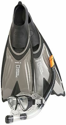 National Geographic Wahoo 48 Scuba Diving Mask Snorkel Fin Set - Black Sm... New
