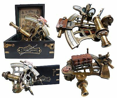 J. Scott London Brass Ship History Sextant with Hardwood Box. C-3082 New