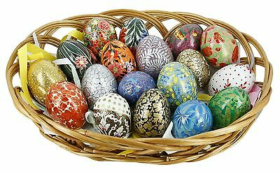ShalinIndia Wooden Easter Eggs Ornaments in Basket - Set of 18 - Multicol... New