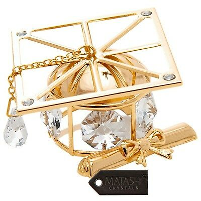 24K Gold Plated Crystal Studded Graduation Cap Ornament with Diploma and ... New