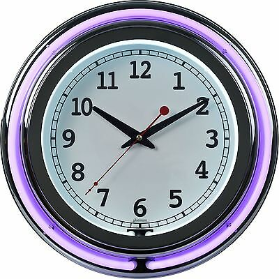 Trademark Global 99-1099PR Double Ring Neon Clock 14-Inch Purple Outer Wh... New