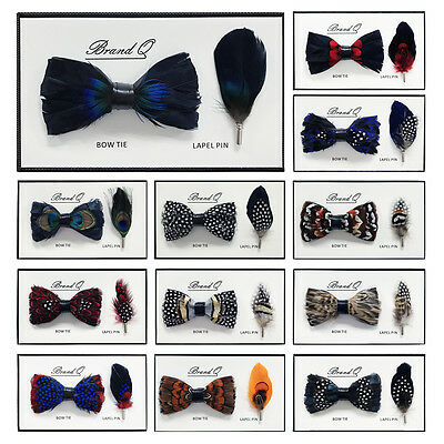 Brand Q Real Feather Men's Fashion Bow Tie & Lapel Pin 2-Piece Set New in Box
