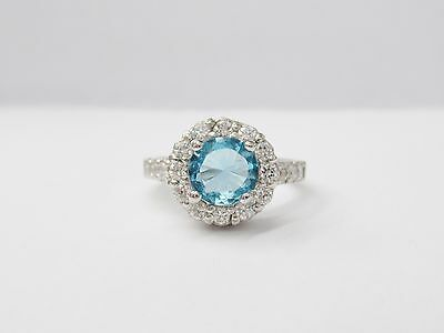 Sterling Silver Round Halo Simulated Aqua Cubic Zirconia Ring SPRING SALE #1725