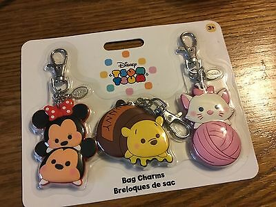 Disney Store Tsum Tsum set of 3 bag charms keychain New