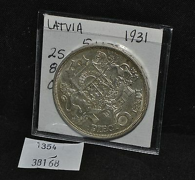 West Point Coins ~ Latvia 1931 5 LATI KM#9 Silver Coin