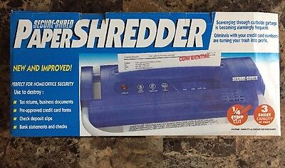 Secure-Shred Secure Shred 3 Setting Portable Garbage Top Paper Strip Shredder