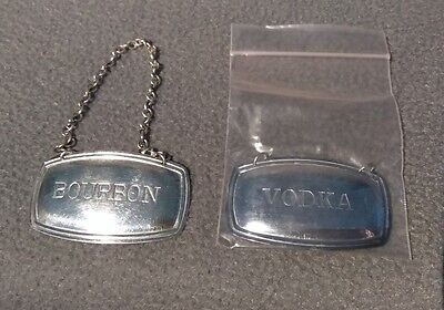 Vintage Silver Plated Decanter Tags by Plato England Vodka and Bourbon
